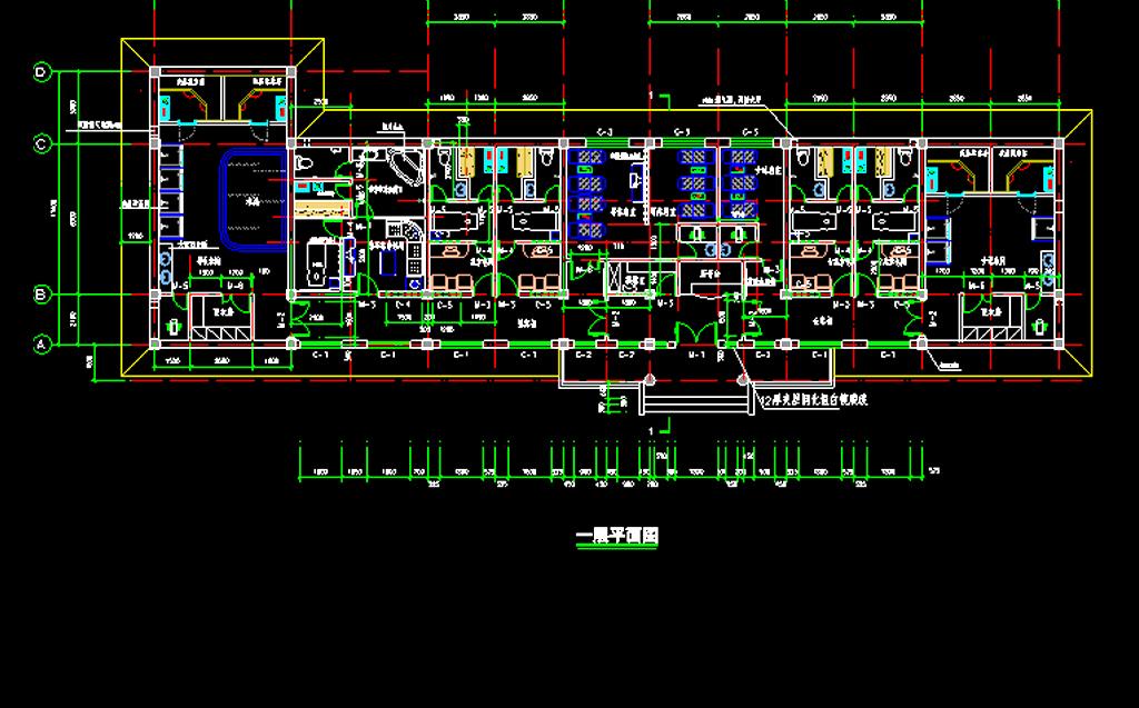 建筑设计 cad图纸  建筑图纸 > 某桑拿中心施工图  版权图片 分享
