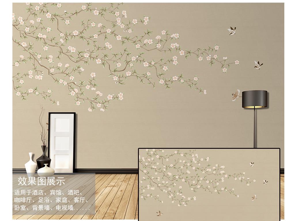 画壁纸墙纸树枝树叶素雅花鸟树枝木纹树中式花鸟中式中式背景工笔手绘