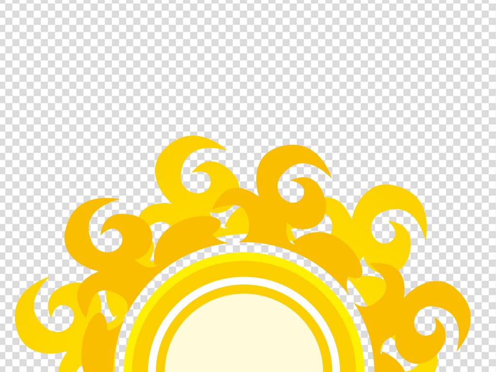 卡通放光手绘简笔画太阳