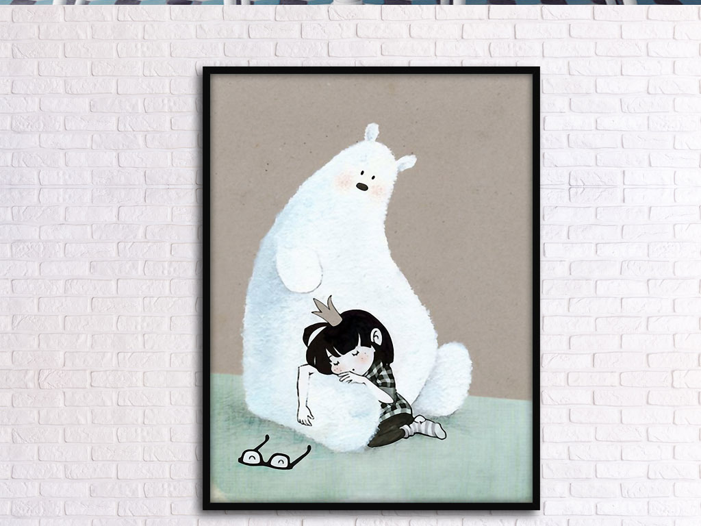 公主睡着了白熊北欧可爱小清新手绘装饰画