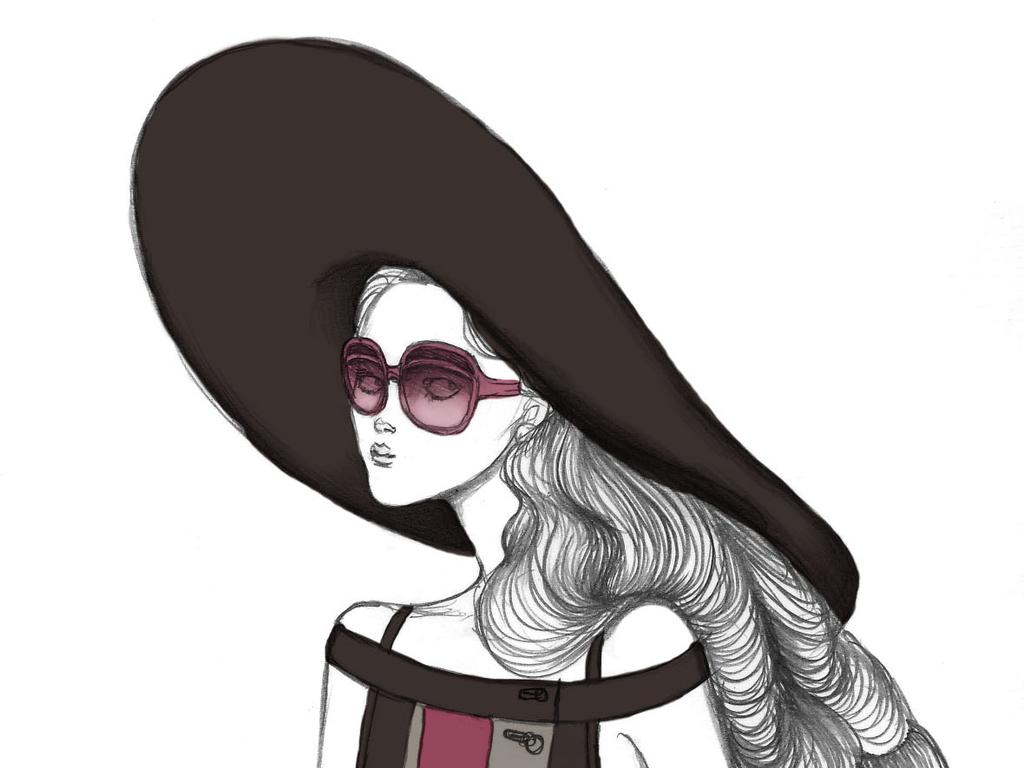 创意时装画彩铅手绘女装效果图人物女装插画