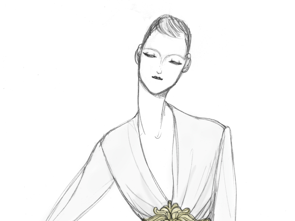 婚纱礼服高清手绘时装画高清素材印刷图