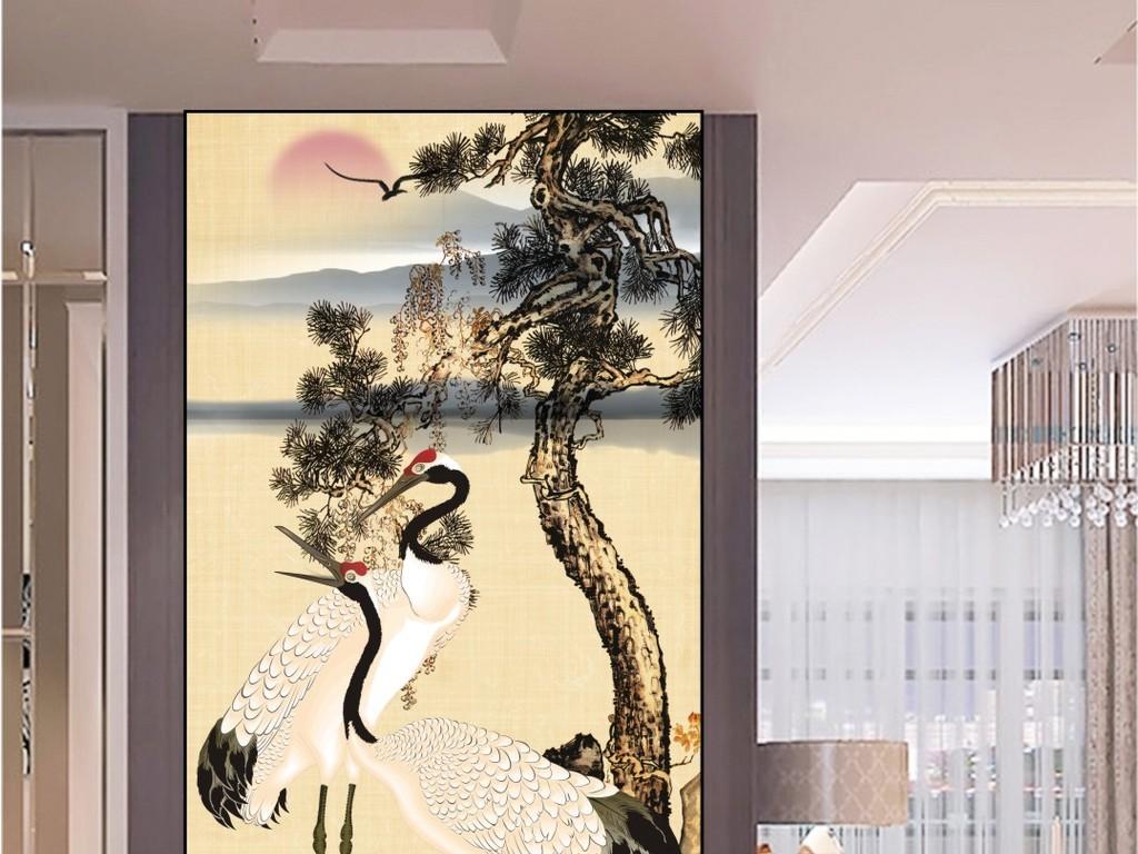 中式仙鹤山水松树水墨画玄关背景装饰画