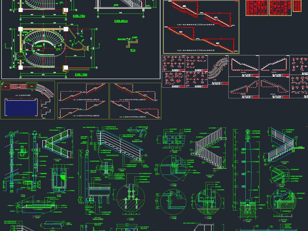 室内设计cad图库 节点详图cad图纸 > 楼梯施工图楼梯节点图楼梯钢结构