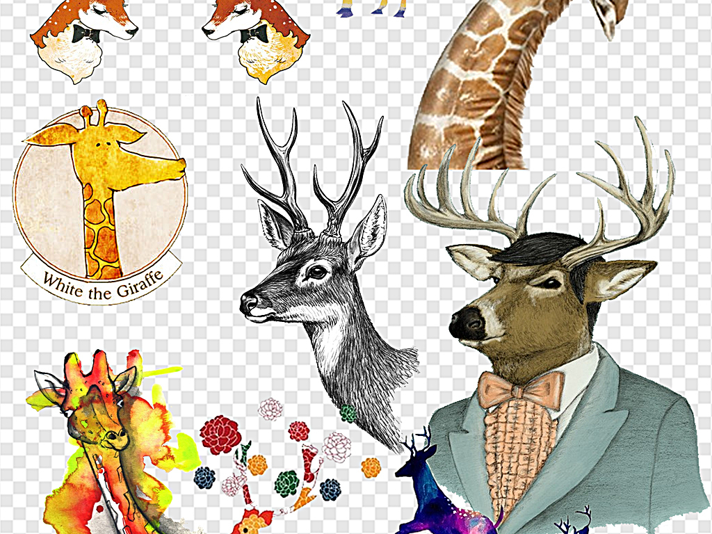 卡通可爱长颈鹿小鹿可爱小鹿手绘小鹿