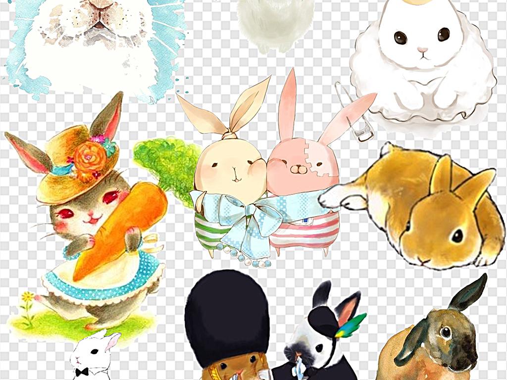 小兔子手绘兔子耳朵兔子卡通兔子剪影