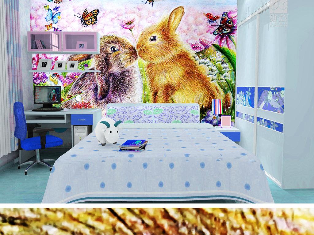 可爱兔子温馨相爱手绘背景墙