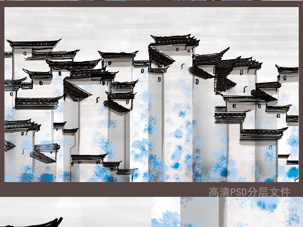 徽派建筑水墨建筑建筑素雅黑白素色四屏条无框画