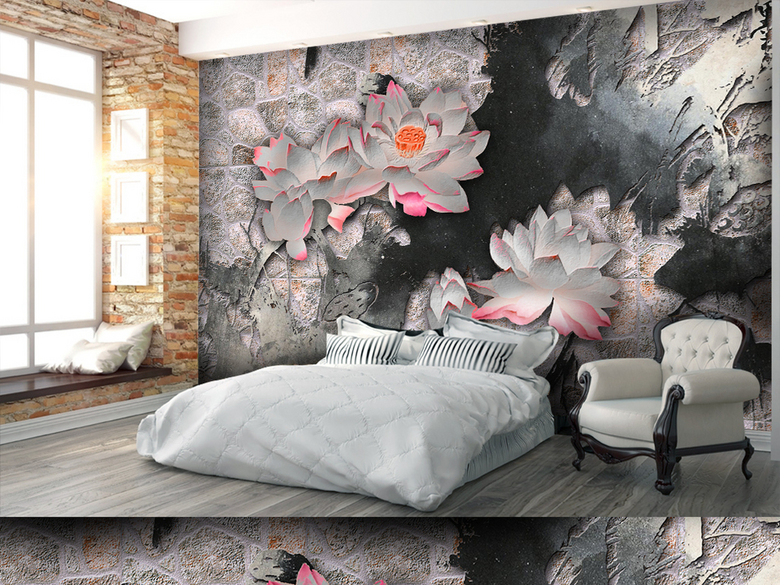 中国风手绘复古荷花装饰电视背景墙(图片编号
