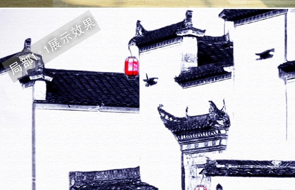 新中式徽派建筑马头墙月亮水墨装饰画背景墙