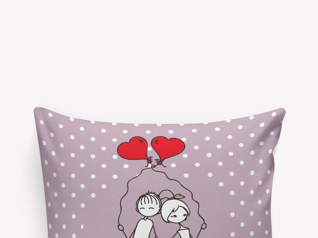 卡通手繪愛心小情侶抱枕圖案設計
