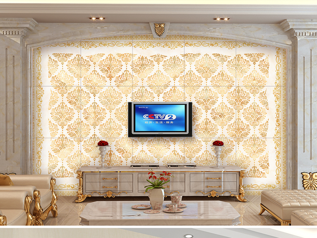 欧式大马士革客厅电视沙发背景墙壁纸图片设计素材_(.