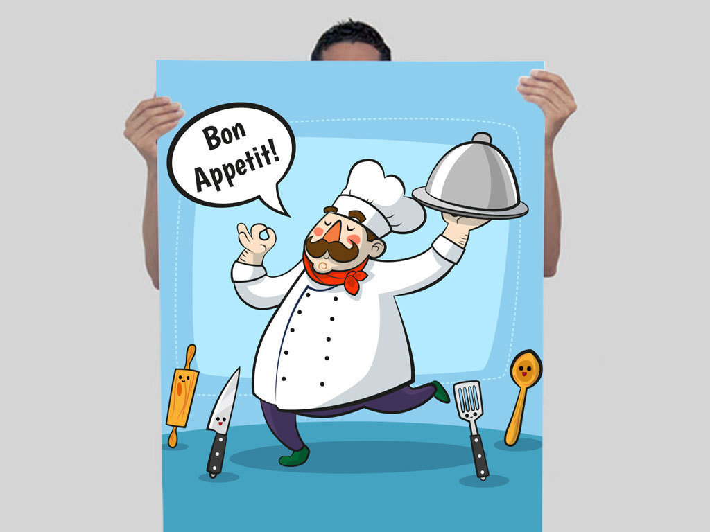 """【本作品下载内容为:""""卡通胖子厨师上菜人物插画背景图""""模板,其他内容仅为参考,如需印刷成实物请先认真校稿,避免造成不必要的经济损失。】 【声明】未经权利人许可,任何人不得随意使用本网站的原创作品(含预览图),否则将按照我国著作权法的相关规定被要求承担最高达50万元人民币的赔偿责任。"""