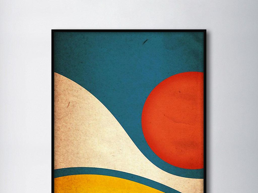 线条色彩几何图形抽象北欧现代家居装饰画