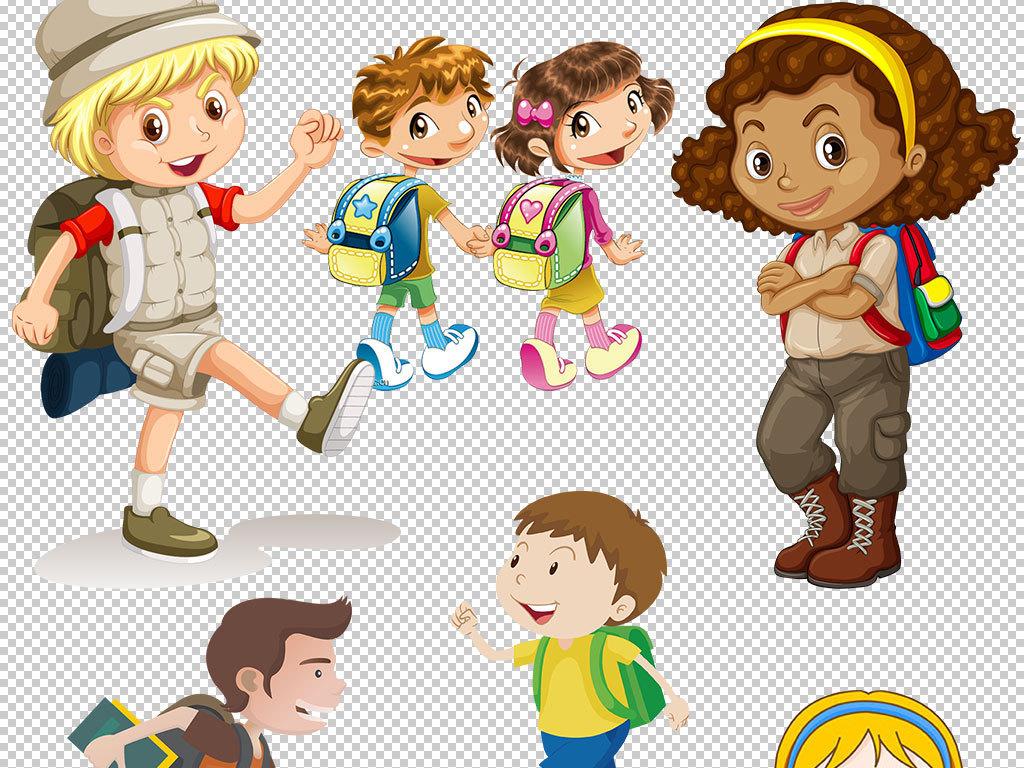 卡通儿童学生书包上学海报素材