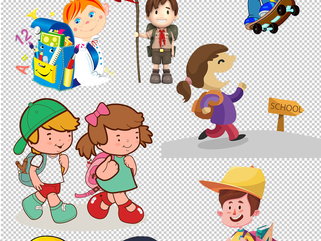 新生上学啦背书包设计元素ps海报素材广告设计我图网图库卡通人物卡通