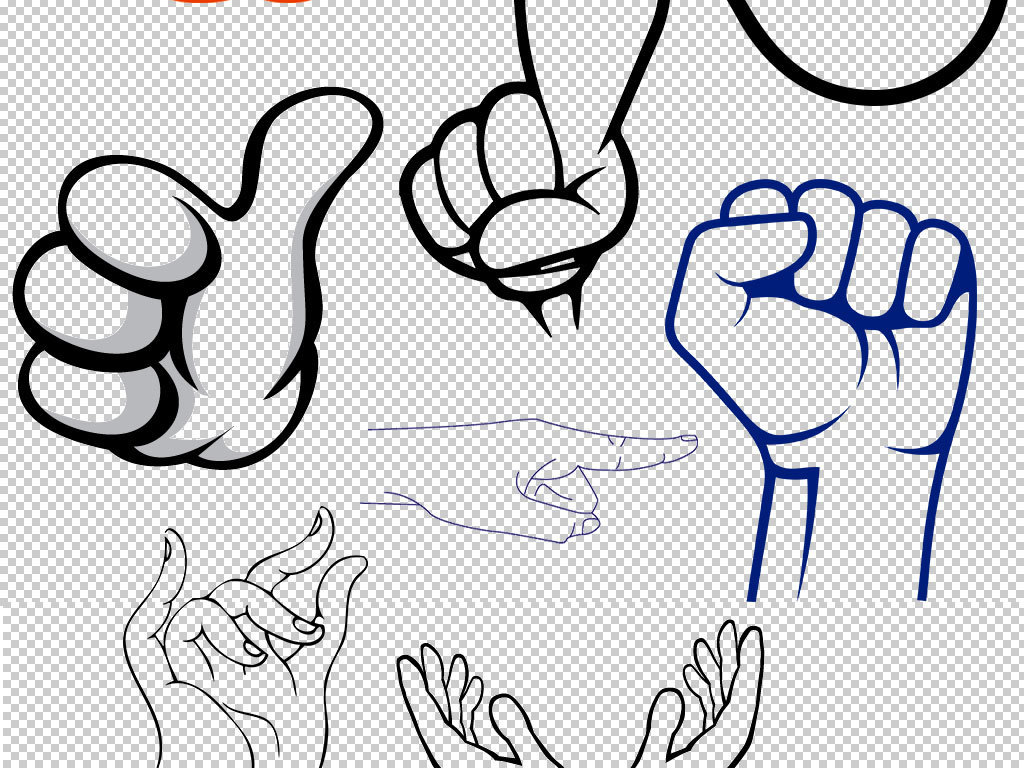 卡通手绘手指指示海报png素材