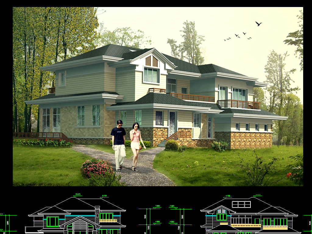 二层别墅洋房建筑图纸