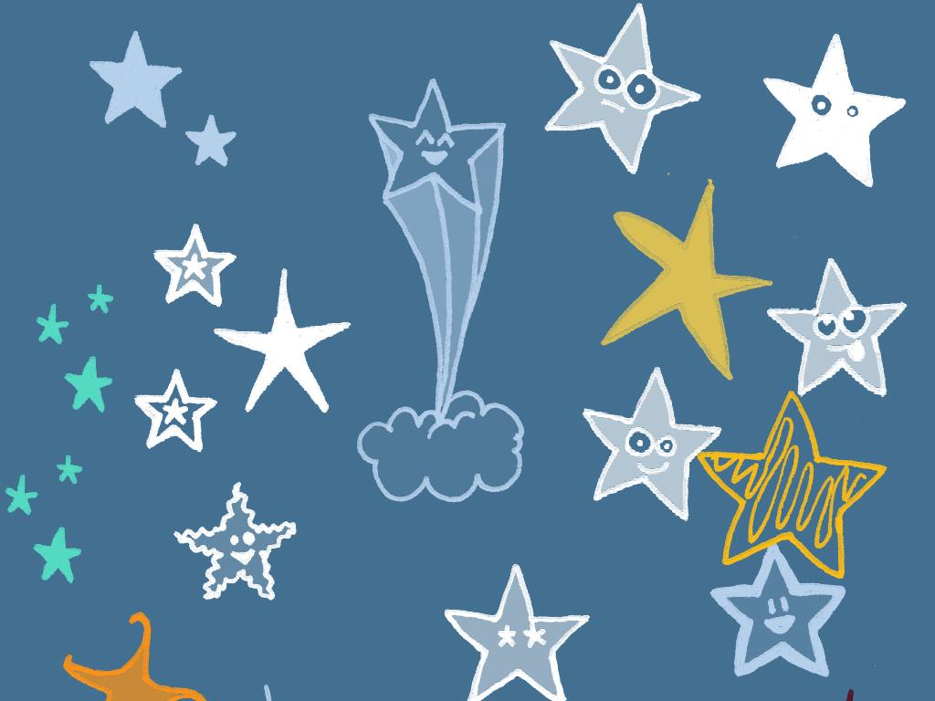 云笔刷下雨笔刷可爱雨天空手绘卡通星星月亮笔刷卡通天空卡通星星源