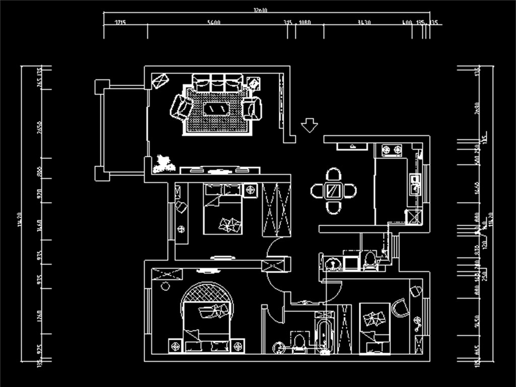 cad图库 室内设计cad图库 cad图纸 > 三室一厅cad设计方案图