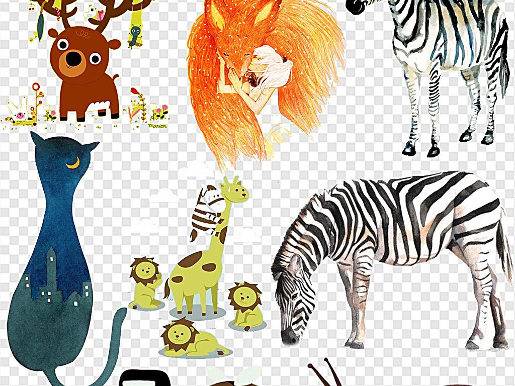 创意萌宠萌萌的动物手绘动物