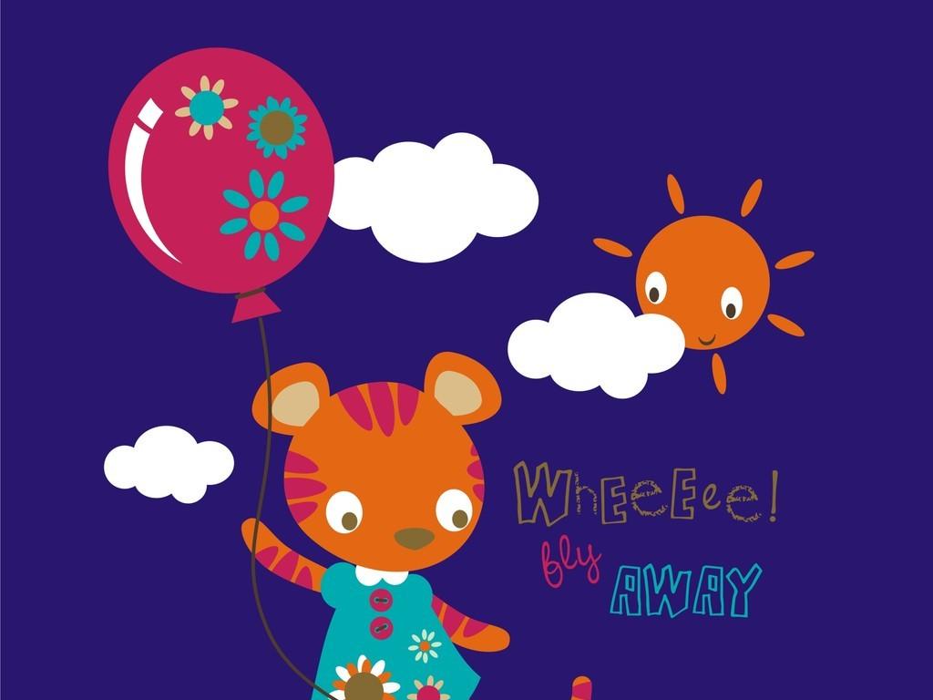 卡通动物云朵气球英文字体老虎