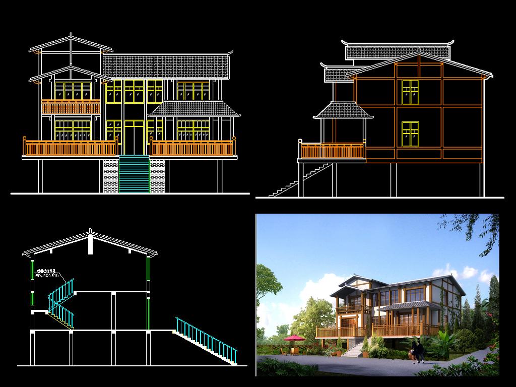 别墅建筑结构水电图施工图
