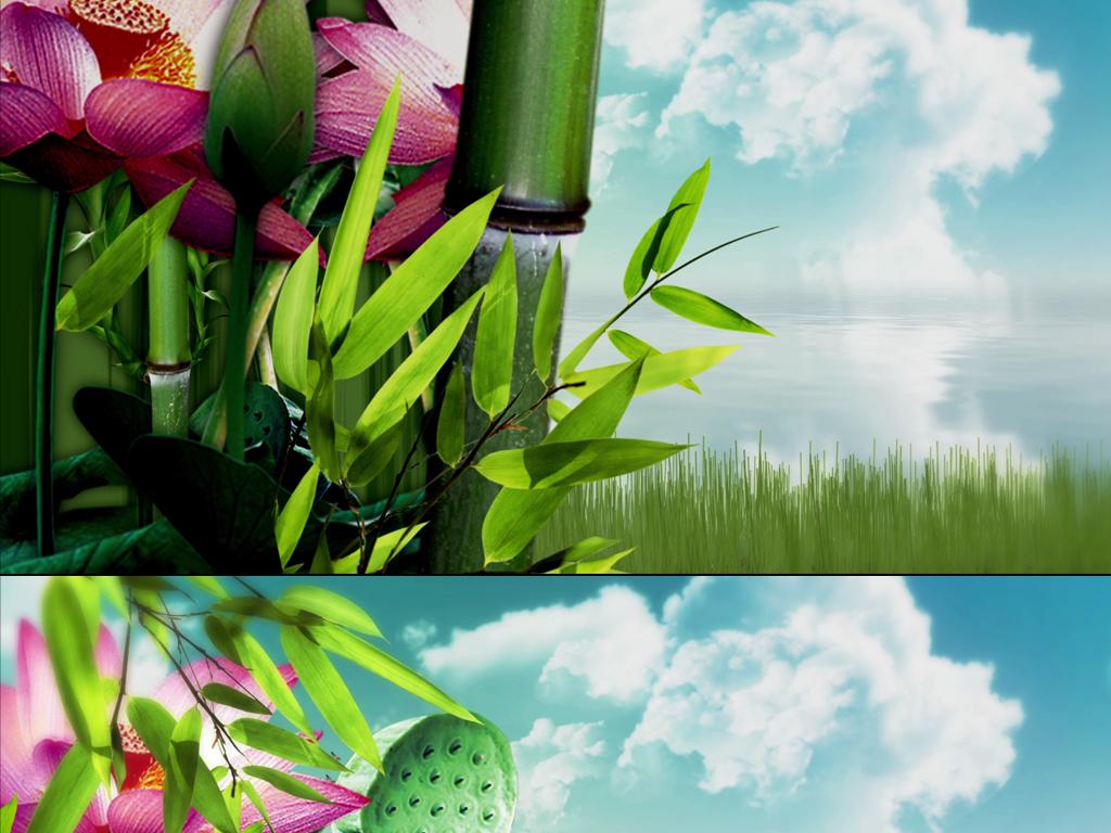 动态视频素材 动态 特效 背景视频素材 > 中国风清新自然风景荷花竹子