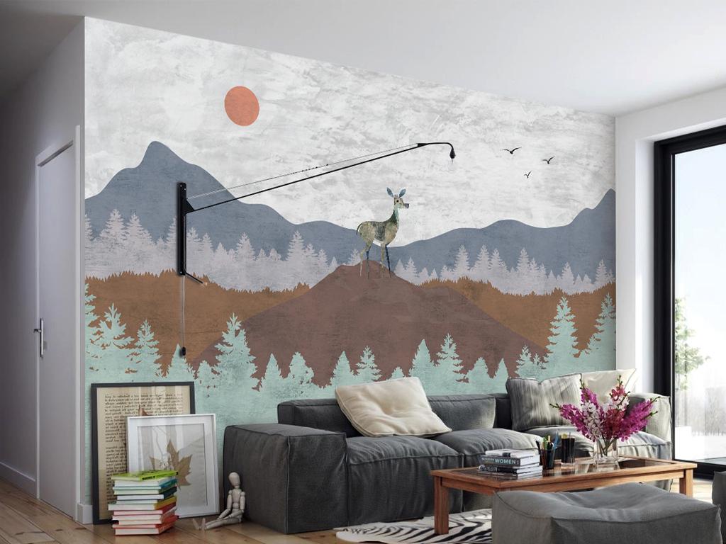 背景墙|装饰画 电视背景墙 现代简约电视背景墙 > 手绘北欧艺术背景墙