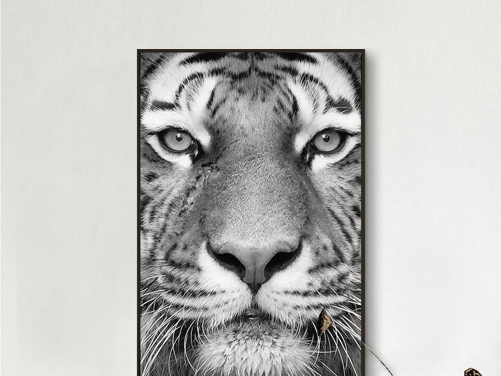 霸气老虎正脸个性动物无框画