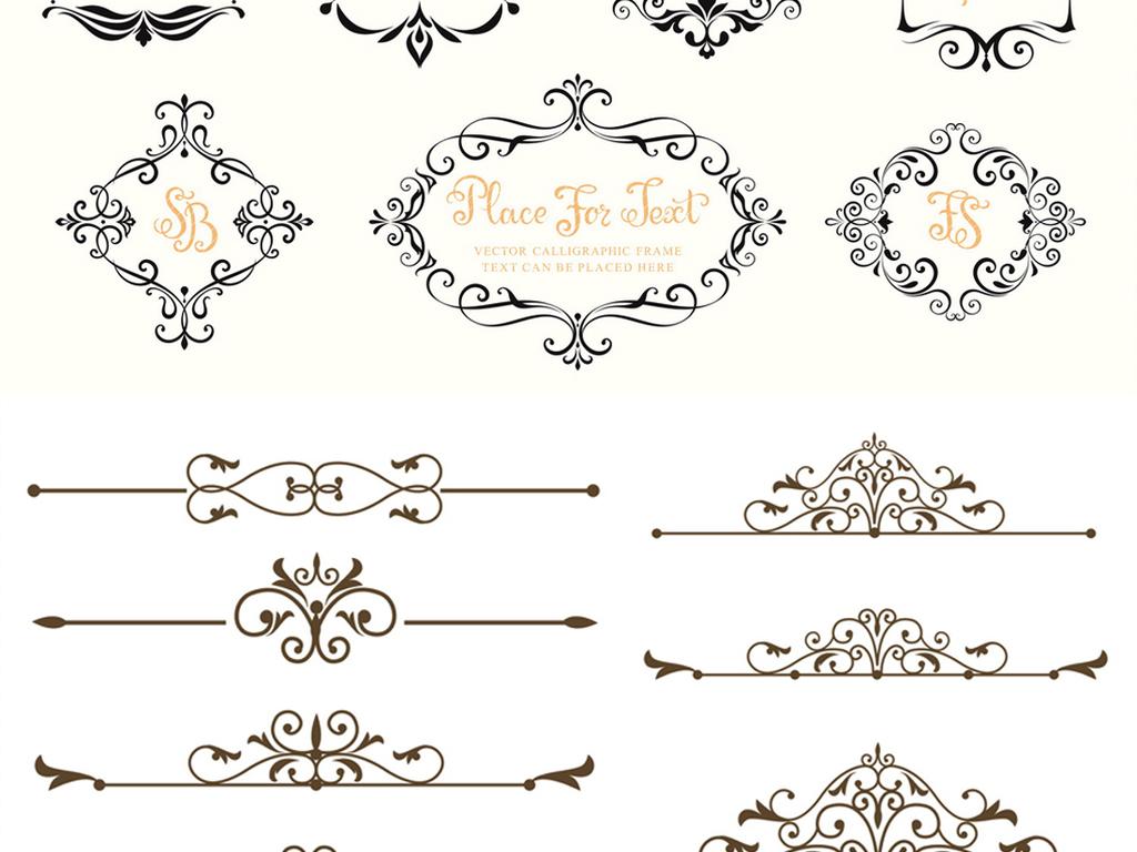 简约欧式复古线条边框花纹eps矢量素材