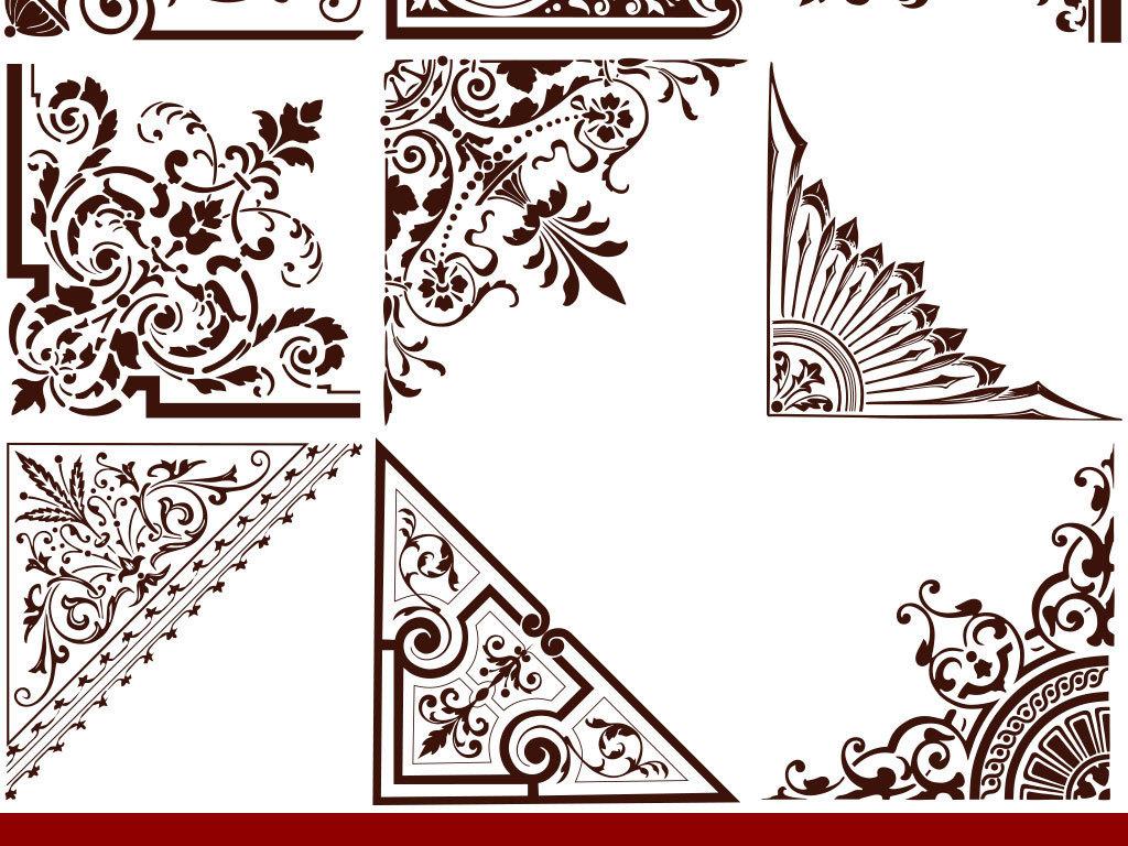 设计元素 背景素材 欧式古典边框边角设计矢量图                原创