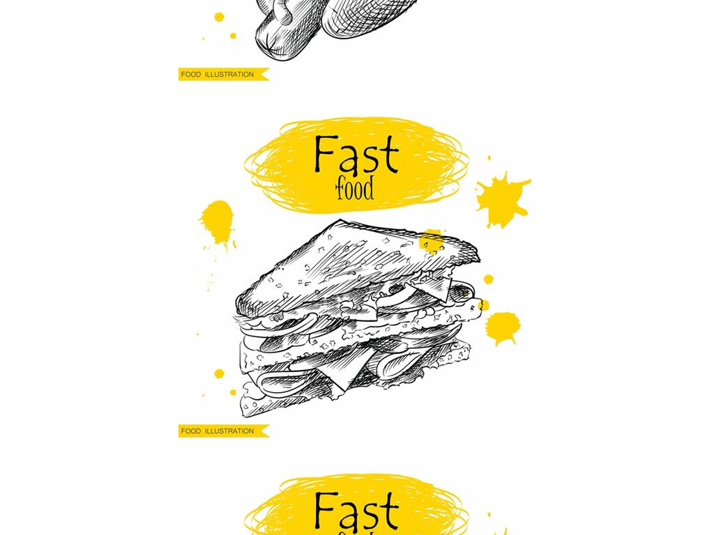 汉堡包三文治热狗包鸡肉卷设计元素黑白素描洋快餐简洁素描手绘美食