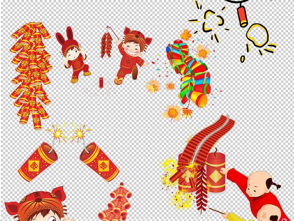 红色喜庆过年放鞭炮海报素材
