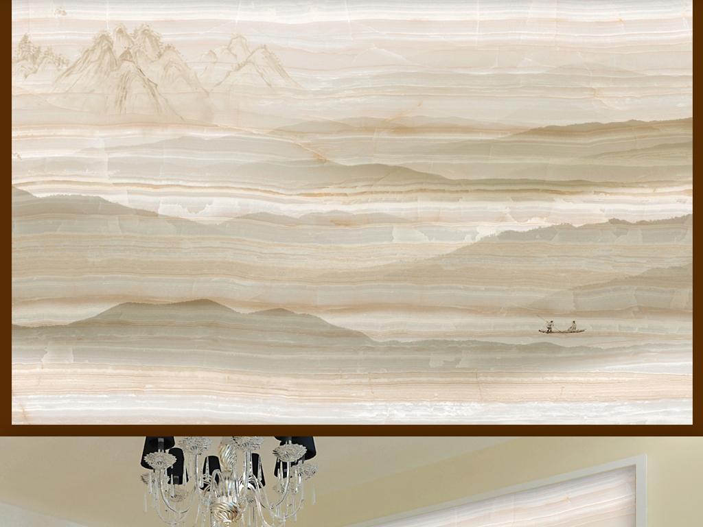欧式大理石纹水墨山水画电视背景墙
