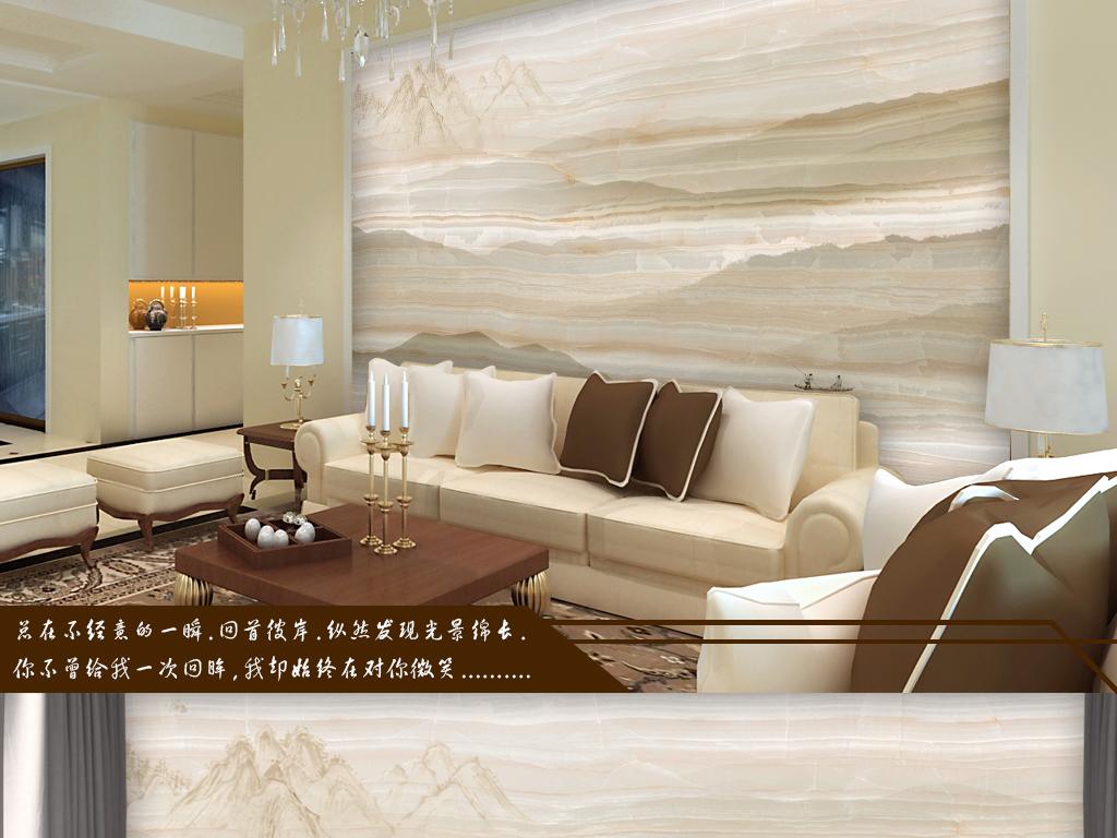 欧式大理石纹水墨山水画电视背景墙图片