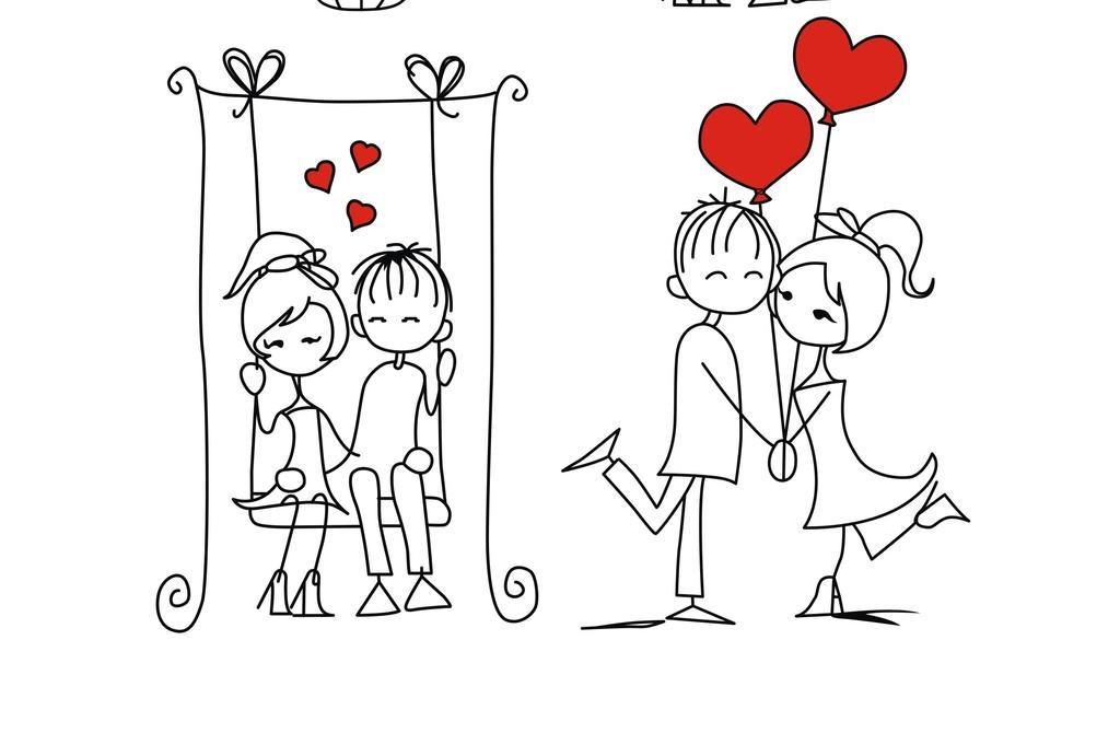 情人节卡通人物情侣