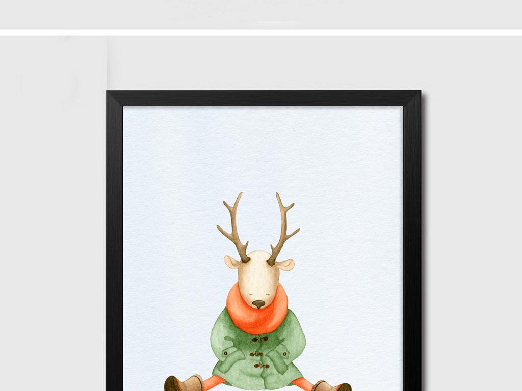 22北欧动物装饰画组合画下载简约大.