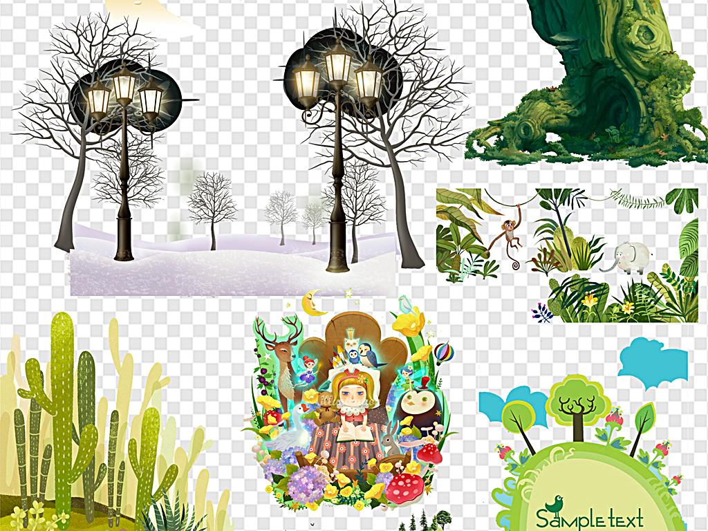 森林卡通大树梦幻卡通卡通梦幻森林卡通森林公主森林风景熊猫森林奇幻
