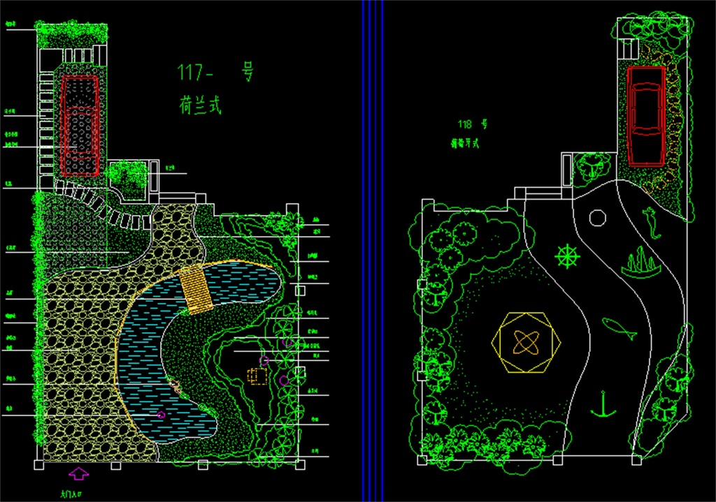 別墅庭院景觀綠化環境cad規劃平面圖
