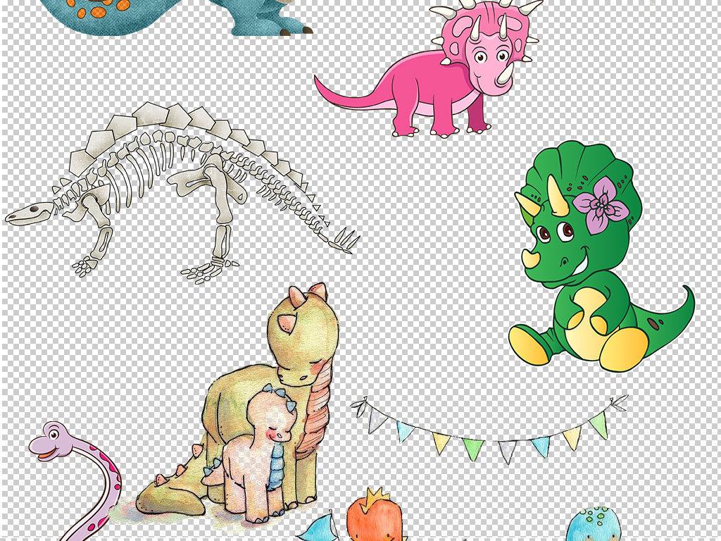 卡通可爱手绘恐龙设计海报素材