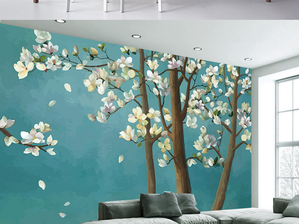 手绘新中式玉兰花树客厅电视背景墙