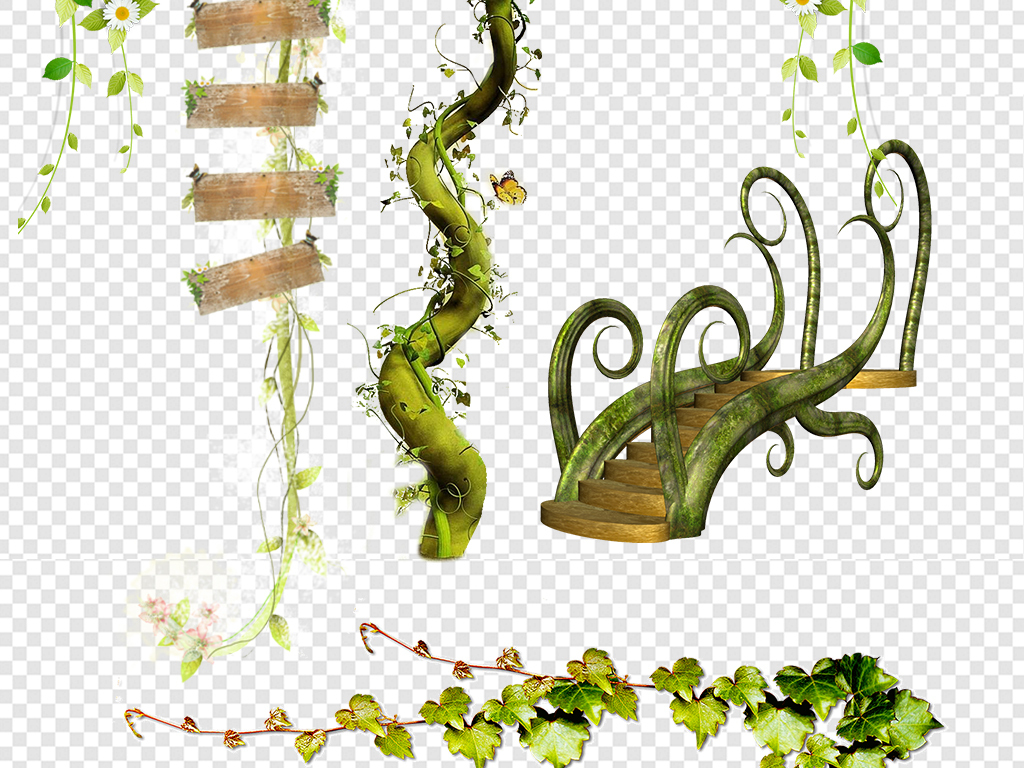 绿色树藤装饰边框海报png素材