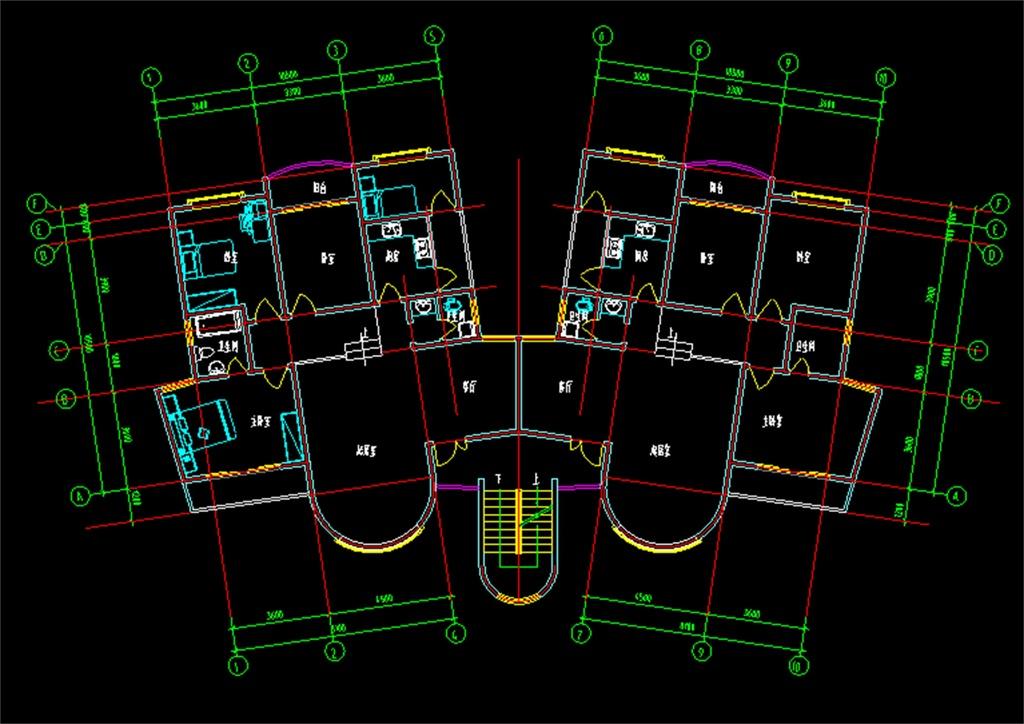 建筑设计 cad图纸  建筑图纸 > 转角户型cad建筑图施工图  版权图片