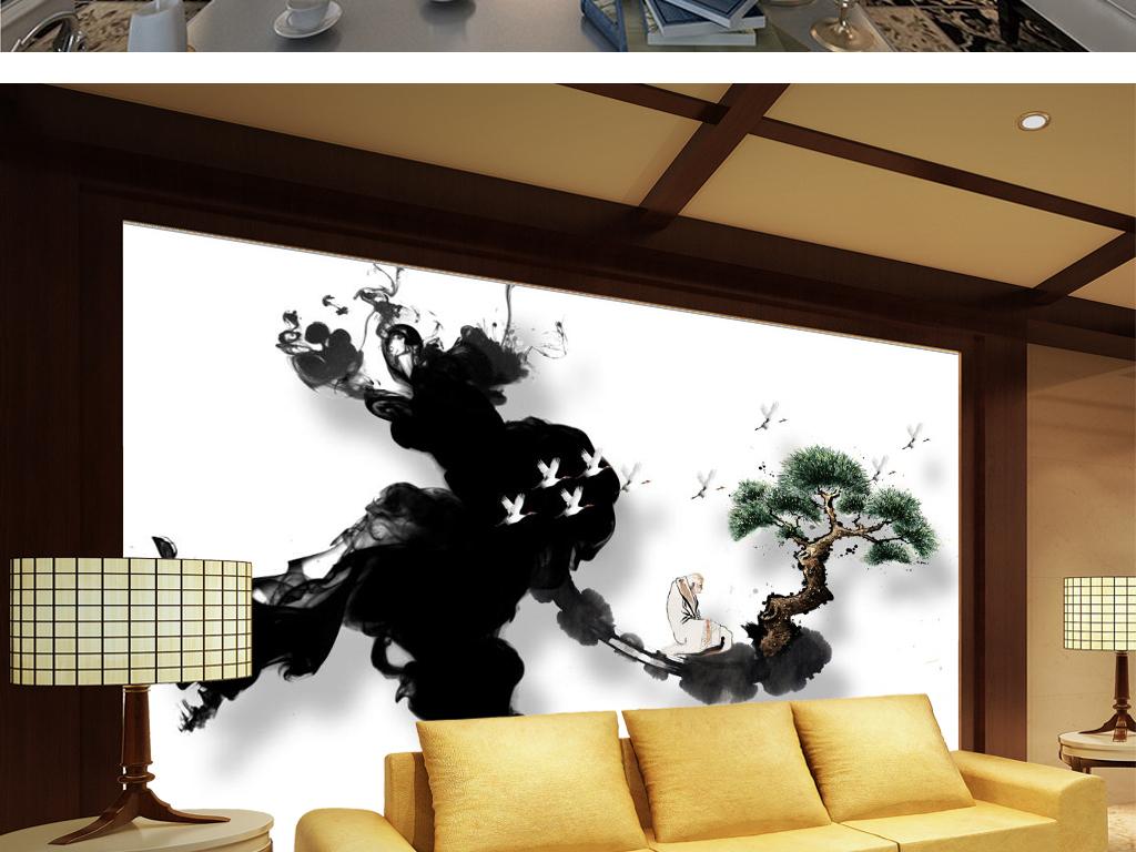 新中式水墨意境禅意松树老僧电视背景墙