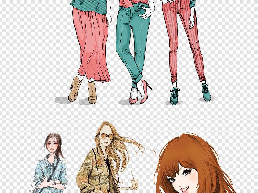 卡通手绘时尚服装美女png素材