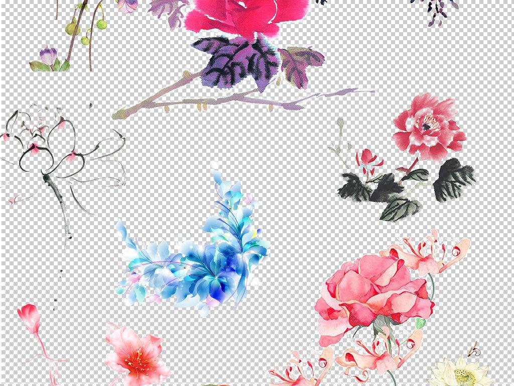 唯美古典水墨鲜花设计海报素材