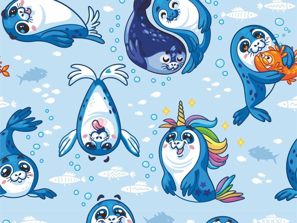 可爱动物海豚卡通图案杯子陶瓷面料印花图案