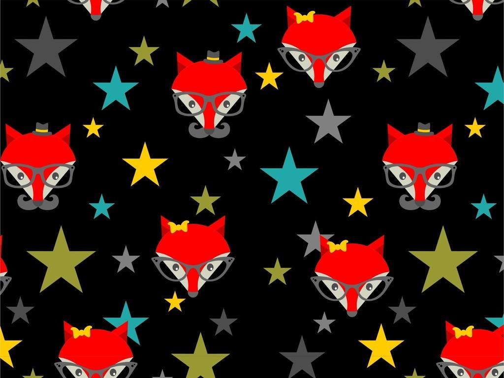 几何图形星星卡通图案卡通动物狐狸印花图案