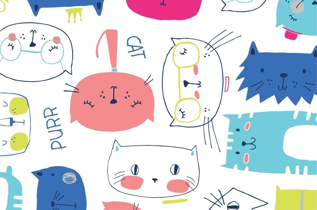 卡通手绘可爱鱼类狮子组合面料印花包装图案